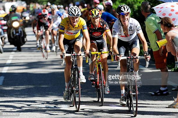 Yellow jersey Frank Schleck , Alejandro Valverde and white jersey Andy Schleck during stage 17 of the 2008 Tour de France between Embrun and...