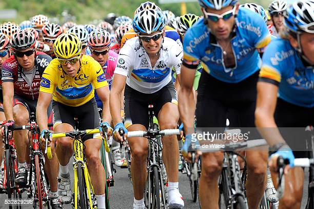 Yellow jersey Kim Kirchen , white jersey Thomas Lovkvist and George Hincapie during stage 7 of the 2008 Tour de France between Brioude and Aurillac.