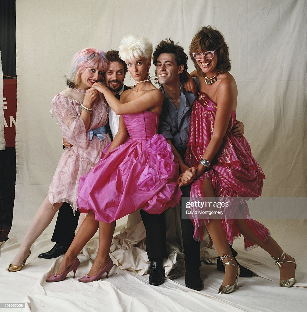 From left to right, Zandra Rhodes, Tim Curry, Paula Yates, Bob Geldof and Janet Street-Porter attend a performance of 'The Pirates of Penzance' at the Theatre Royal in London, July 1982. Used on the cover of 'The Sunday Time Magazine', pub. 11th July 1982.