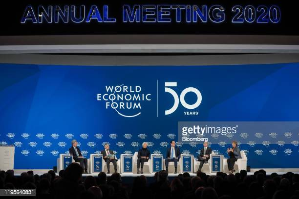 From left to right Zhu Min deputy managing director of the International Monetary Fund Haruhiko Kuroda governor of the Bank of Japan Christine...