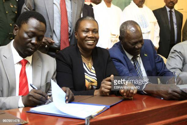 From left to rigt Gabriel Changson representative of Machar's rebel group Angelina Teny chief negotiator of the rebel Machar's group and Michael...