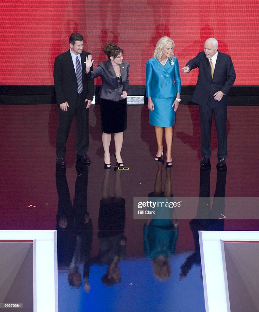 From left, Todd Palin, GOP vice presidential candidate Sarah Palin, Cindy McCain, and GOP presidential candidate John McCain wave to the crowd after McCain's speech to the Republican National Convention at the Xcel Center in St. Paul, Minn., on Thursday, Sept. 4, 2008.