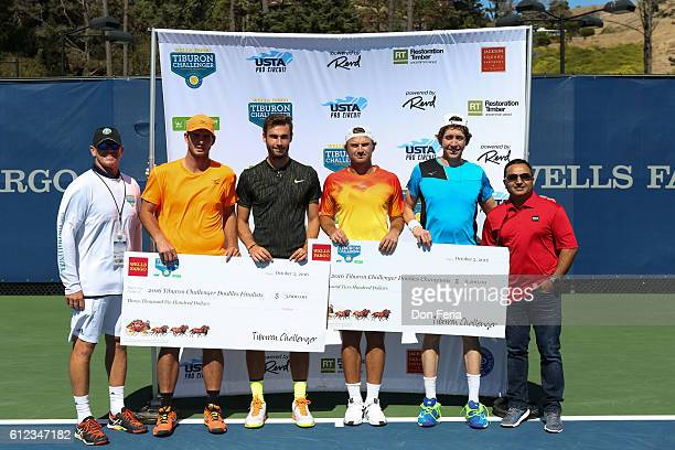 From left Tournament Director Brendan Curry Dennis Novikov Quentin Halys Matt Reid and JohnPatrick Smith stand for a photo with Title Sponsor Ashoo...