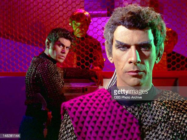 From left unidentified as Romulan technician looking towards Romulan Subcommander Tal in the STAR TREK episode The Enterprise Incident Original...