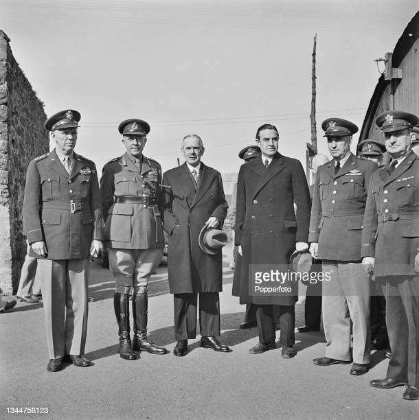 From left, United States Army General George C Marshall , Chief of Staff of the United States Army, British Army Lieutenant-General Harold Franklyn ,...