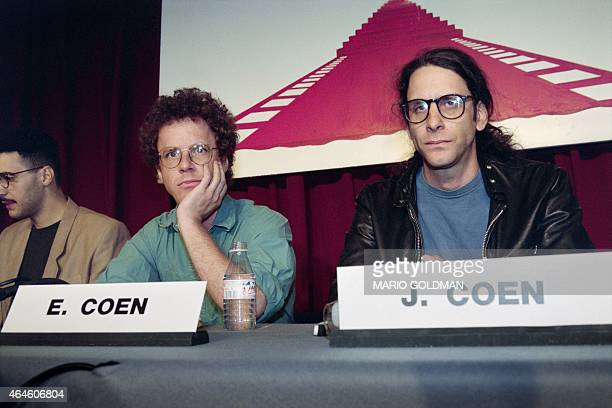 "From left, US actor John Turturro and US film directors Ethan and Joel Coen attend a press conference for their film ""Barton Fink"" at the 44th..."