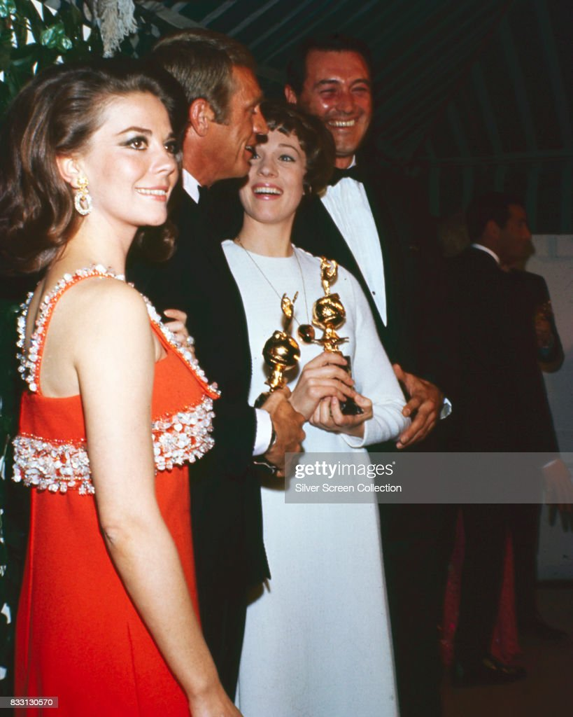From left, U.S. actors Natalie Wood (1938 - 1981), Steve McQueen (1930 -1980), Julie Andrews and Rock Hudson (1925 - 1985) at the 24th Annual Golden Globe Awards at the Cocoanut Grove on February 15, 1967.