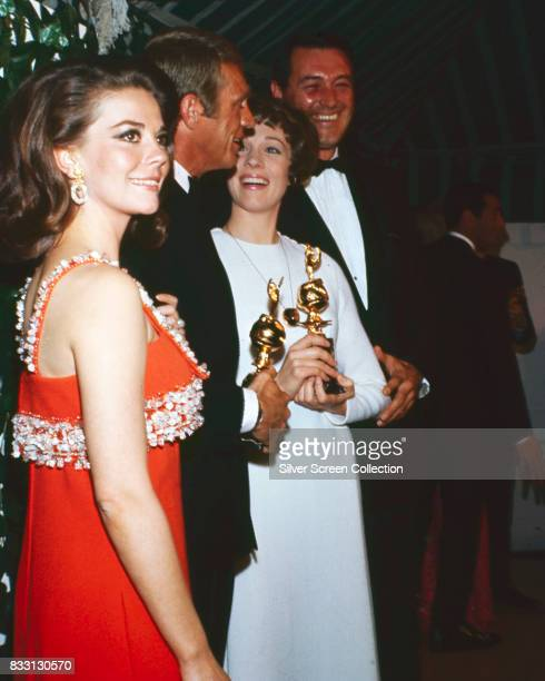 From left US actors Natalie Wood Steve McQueen Julie Andrews and Rock Hudson at the 24th Annual Golden Globe Awards at the Cocoanut Grove on February...