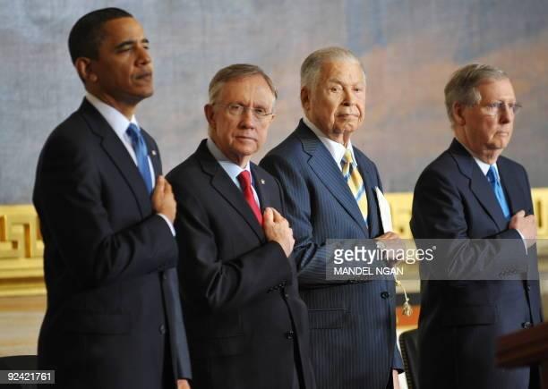 President Barack Obama, Senate Majority Leader Harry Reid, D-NV, former senator Edward William Brooke, and Senate Minority Leader Mitch McConnell,...
