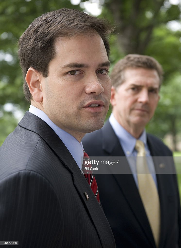 From left, U.S. Senate candidate and former Florida House Speaker Marco Rubio, R-Fla., and Sen. Jim DeMint, R-S.C., speak to reporters in Upper Senate Park on Tuesday, June 16, 2009, about Sen. DeMint's endorsement of Rubio.
