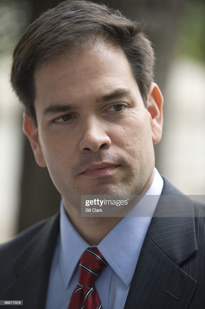 From left, U.S. Senate candidate and former Florida House Speaker Marco Rubio, R-Fla., speaks with Sen. Jim DeMint, R-S.C., not pictured, on Tuesday, June 16, 2009, in Upper Senate Park before speaking with reporters about Sen. DeMint's endorsement of Rubio.