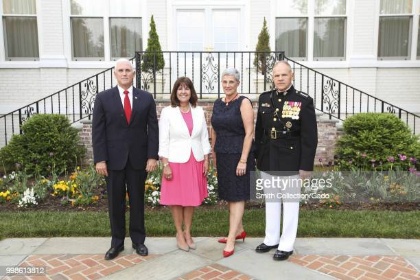 From left, US Vice President the Honorable Mike Pence, Karen Pence, D'Arcy Neller, and Commandant of the Marine Corps Gen Robert B Neller pose for a...