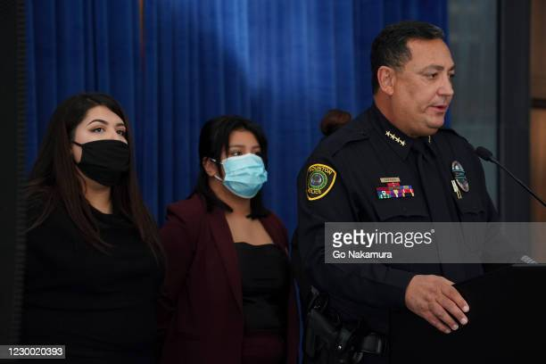 From left, Vanessa Guillen's sister Myra Guillen, Vanessa's sister Lupe Guillen, and Houston's chief of police Art Acevedo attend a press conference...