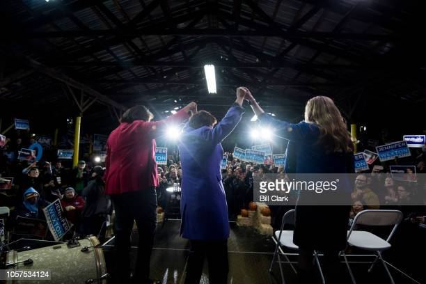 From left Vangie Williams candidate for Virginia's 1st Congressional district Anne Holton wife of Sen Tim Kaine and Jennifer Wexton candidate for...