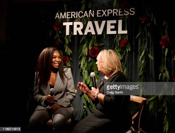 From left Venus Williams and Audrey Hendley president of American Express Travel hold a fireside chat to reveal the 2020 Trending Destinations at the...