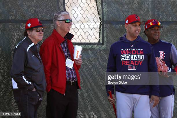 From left Vice President and Special Assistant to the President of Baseball Operations Tony La Russa President of Baseball Operations Dave Dombrowski...