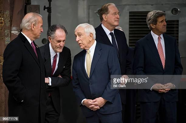 From left, Vice President Joe Biden speaks with Sen. Ted Kaufman, D-Del, and Sen. Frank Lautenberg, D-N.J., as Sen. John Rockefeller, D-W.Va., and...