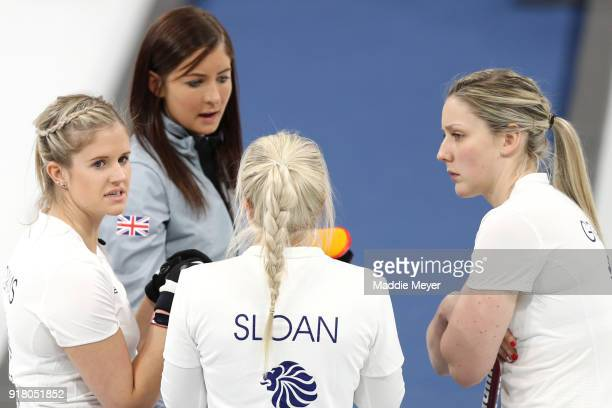 From left Vicki Adams Eve Muirhead Anna Sloan and Lauren Gray of Great Britain talk during their game against Olympic Athlete from Russia during...