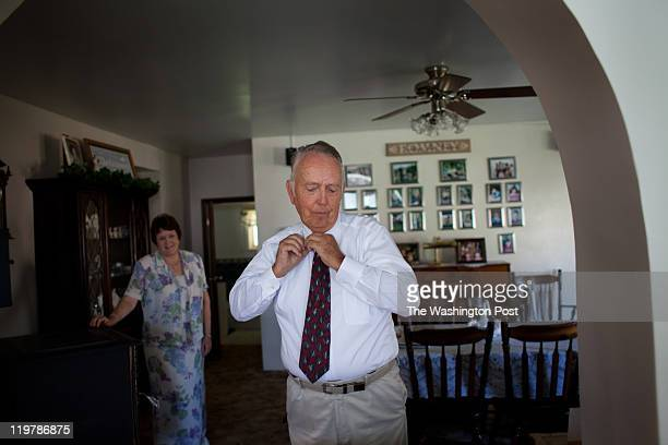 From left Virginia Hatch Romney watches her husband Kent Romney get ready for church service in Colonia Juarez Mexico in July 2011 United States...