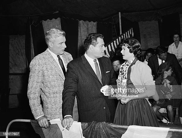 William Hopper as Paul Drake Raymond Burr as Perry Mason and Barbara Hale as Della Street in The Case of the Clumsy Clown Image dated June 17 1960