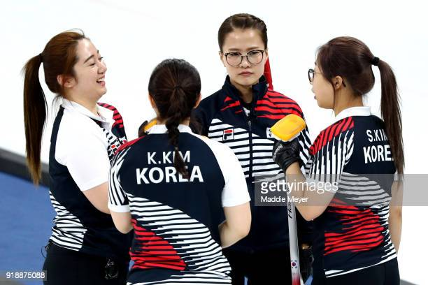From left Yeongmi Kim KyeongAe Kim EunJung Kim and SeonYeong Kim of Republic of Korea talk together during the Curling Women's Round Robin Session 4...
