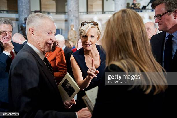 From left Zbigniew Brzezinski former National Security Advisor his daughter television personality Mika Brzezinski and her cohost Joe Scarborough...