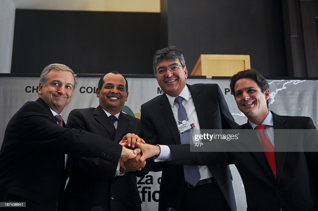 """The Economy Ministers of Chile Felipe Larrain, Peru, Luis Miguel Castilla, Colombia, Mauricio Cardenas and Mexico, Bosto Marti participate on a press conference during the Eighth World Economic Forum for Latin America in Lima on April 25, 2013. For two days and under the theme """"Delivering Growth, Strengthening Societies"""", more than 600 regional and global leaders will discuss the opportunities and challenges that lie ahead to achieve the region's full potential."""