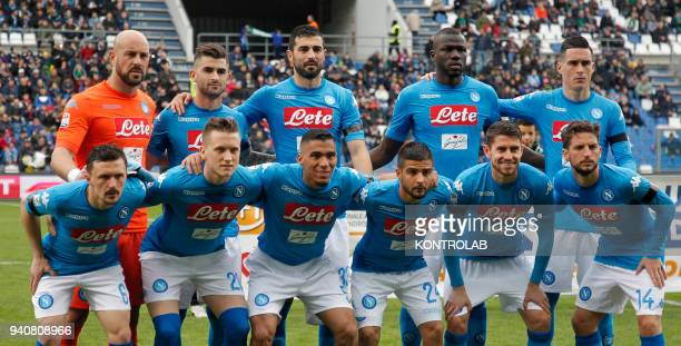From lefto to right up line Napoli's Spanish goalkeeper Pepe Reina Napoli's Albanian defender Elseid Hysaj Napoli's Spanish defender Raul Albiol...