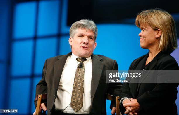 From 'Little People Big World' Matthew Roloff and Amy Roloff speak at the Discovery Upfront event at Jazz at Lincoln Center on April 23 2008 in New...