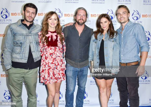 From LR Actors Adam Brody Ahna O'Reilly Zachary Knighton Heidi Heaslet and actor / director / writer Joey Kern attend the premier of Blue Fox...