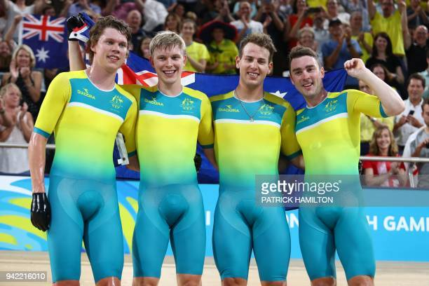 Australia's Kelland O'Brien Alex Porter Sam Welsford and Leigh Howard celebrate their gold medal win and new world record in the men's 4000m team...