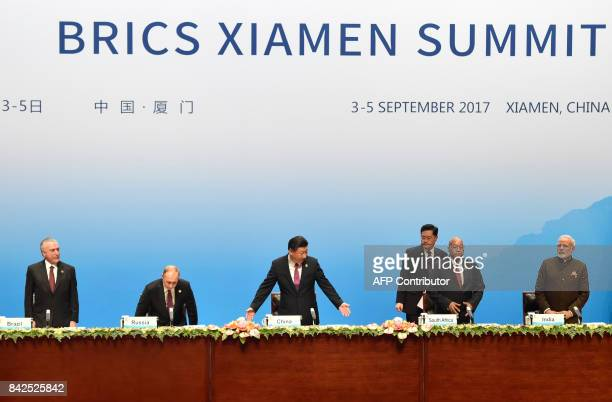 Brazilian President Michel Temer Russian President Vladimir Putin Chinese President Xi Jinping South Africa's President Jacob Zuma and Indian Prime...