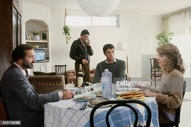 French actor Jean Yanne Irish actor Gabriel Byrne Mohammed Bakri and American actress Jill Clayburgh on the set of the film Hanna K directed by...