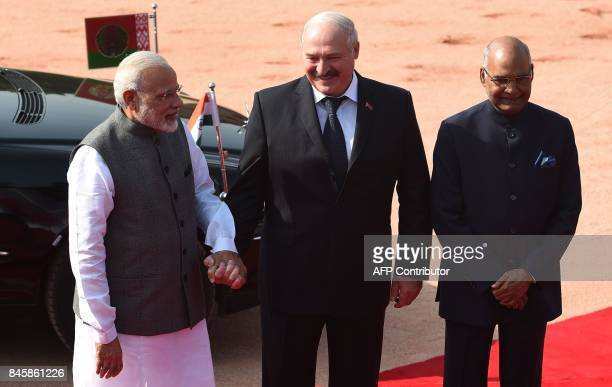 Indian Prime Minister Narendra Modi Belarus President Alexander Lukashenko and Indian President Ram Nath Kovind pose for a picture during a...