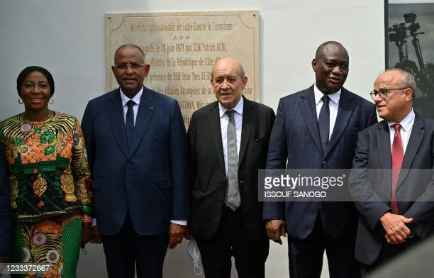 Ivorian foreign Minister Kandia Camara, Ivorian Prime Minister Patrick Achi, French Minister of Europe and Foreign Affairs Jean-Yves Le Drian,...