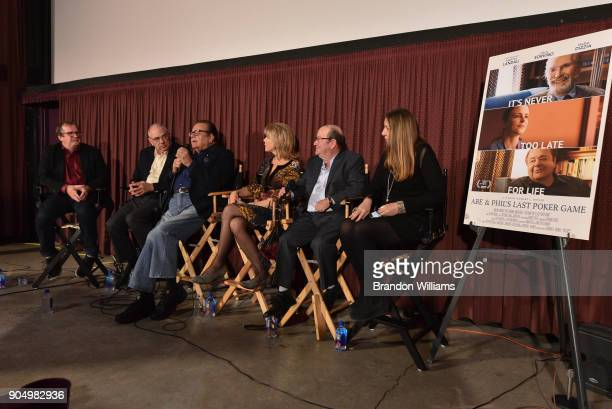 From LR Pete Hammond Dr Howard Weiner Paul Sorvino Pamela Dubin Harry Gold and Susie Landau Finch speak on a panel at the special screening and QA...