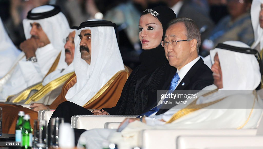 - Qatari Crown Prince Sheikh Tamim bin Hamad al-Thani sits next to the Emir of Kuwait Sheikh Sabah al-Ahmad al-Jaber al-Sabah, the Emir of Qatar Sheikh Hamad bin Khalifa al-Thani, his wife Sheikha Moza, U.N. Secretary General Ban Ki-Moon and Qatar's Deputy Prime Minister and president of the 18th United Nations Convention on Climate Change, Abdullah bin Hamad Al-Attiyah, during the opening ceremony of Plenary Session of the High-Level Summit of the United Nations Framework Convention on Climate Change (UNFCCC) in Doha on December 4, 2012.