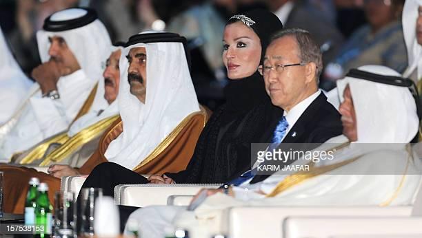 Qatari Crown Prince Sheikh Tamim bin Hamad alThani sits next to the Emir of Kuwait Sheikh Sabah alAhmad alJaber alSabah the Emir of Qatar Sheikh...