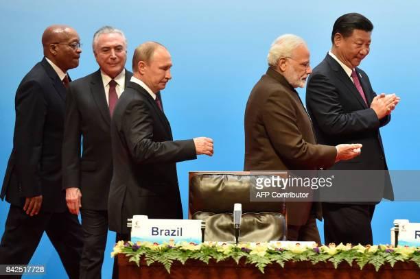 South Africa's President Jacob Zuma Brazilian President Michel Temer Russian President Vladimir Putin Indian Prime Minister Narendra Modi and Chinese...