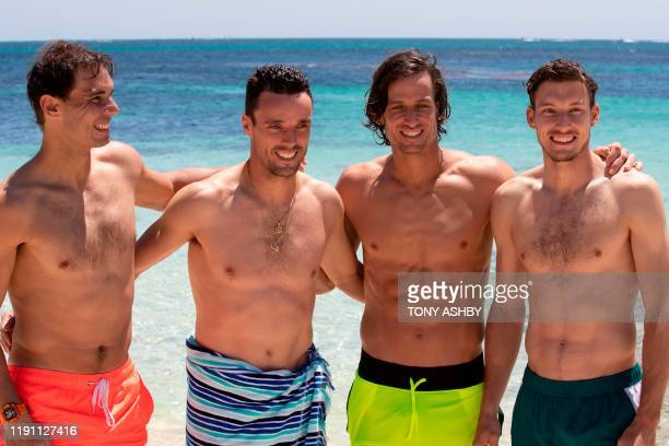 Tennis player Rafael Nadal of Spain poses with teammates Roberto Bautista Agut Feliciano Lopez and Pablo Carreno Busta during a visit to a Rottnest...