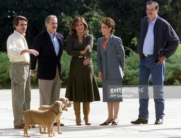 Spanish Prime Minister Jose Maria Aznar Colombian President Andres Pastrana Aznar's wife Ana Botella wife of Mexican President Fox Martha Sahagun and...