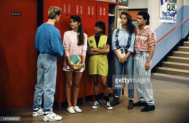 """From Nurse to Worse"""" Episode 16 -- Air Date -- Pictured: Mark-Paul Gosselaar as Zack Morris, Tiffani Thiessen as Kelly Kapowski, Lark Voorhies as..."""