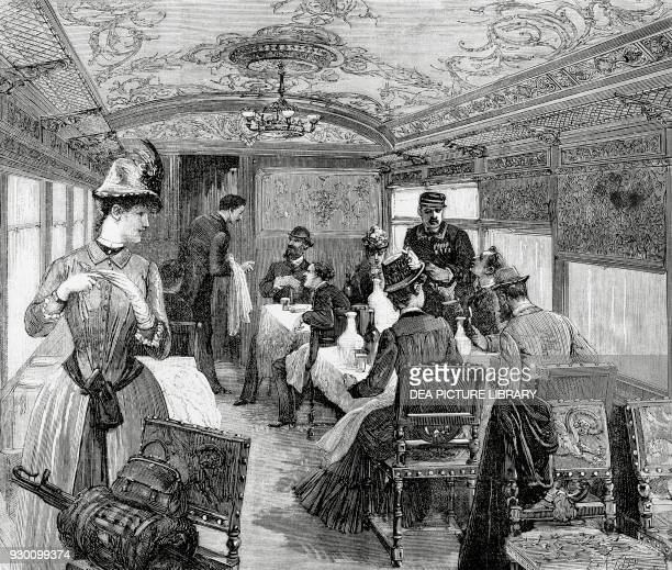 From Paris to Constantinople the dining car on the Orient Express engraving 19th century