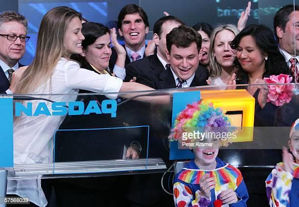 From Project Sunshine model Bar Refaeli executive director Amy Saperstein founder Joe Weilgus and NASDAQ VP Maribel Aber attend the NASDAQ closing...