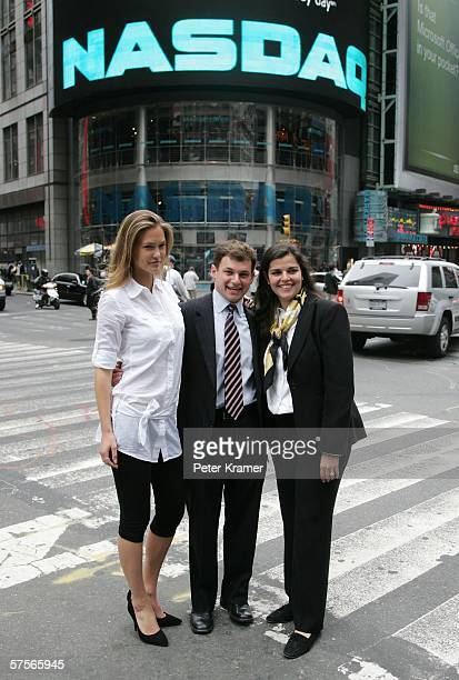 From Project Sunshine model Bar Refaeli founder Joe Weilgus and executive director Amy Saperstein attend the NASDAQ closing bell in Times Square on...