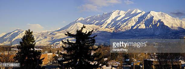 from provo, utah looking north to mount timpanogos. - utah stock pictures, royalty-free photos & images