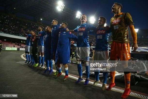 STADIUM NAPLES CAMPANIA ITALY From R Napoli's goalkeeper from Italy Alex Meret Napoli's striker Germany Amin YounesNapoli's striker from Poland...