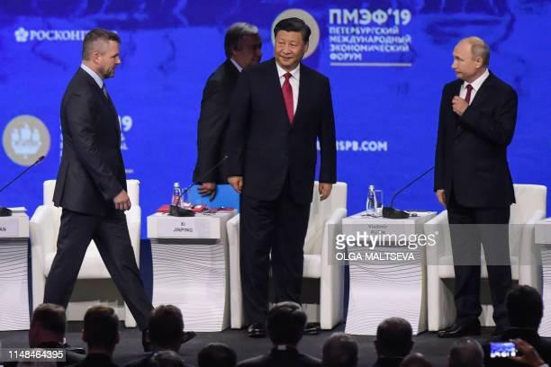 Russian President Vladimir Putin Chinese President Xi Jinping United Nations SecretaryGeneral Antonio Guterres and Slovak Prime Minister Peter...