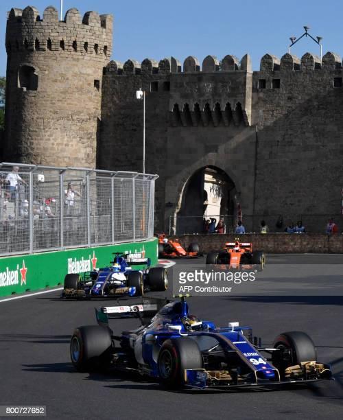 Sauber's German driver Pascal Wehrlein Sauber's Swedish driver Marcus Ericsson McLaren's Belgian driver Stoffel Vandoorne and McLaren's Spanish...