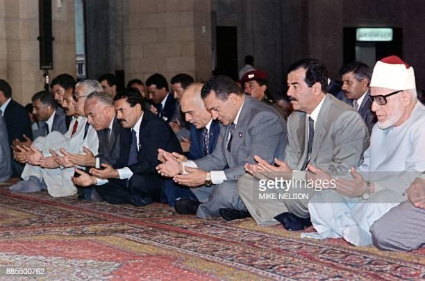 Grand Sheik of AlAzhar Iraqi President Saddam Hussein Egyptian President Hosni Mubarak Jordanian King Hussein and North Yemeni President Ali Abdullah...